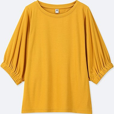 GIRLS DRAPE DOLMAN HALF-SLEEVE T-SHIRT, YELLOW, medium