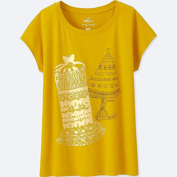 WOMEN SPRZ NY SHORT-SLEEVE GRAPHIC T-SHIRT (ANDY WARHOL), YELLOW, large