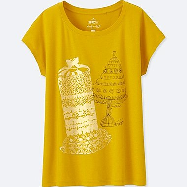 WOMEN SPRZ NY SHORT-SLEEVE GRAPHIC T-SHIRT (ANDY WARHOL), YELLOW, medium