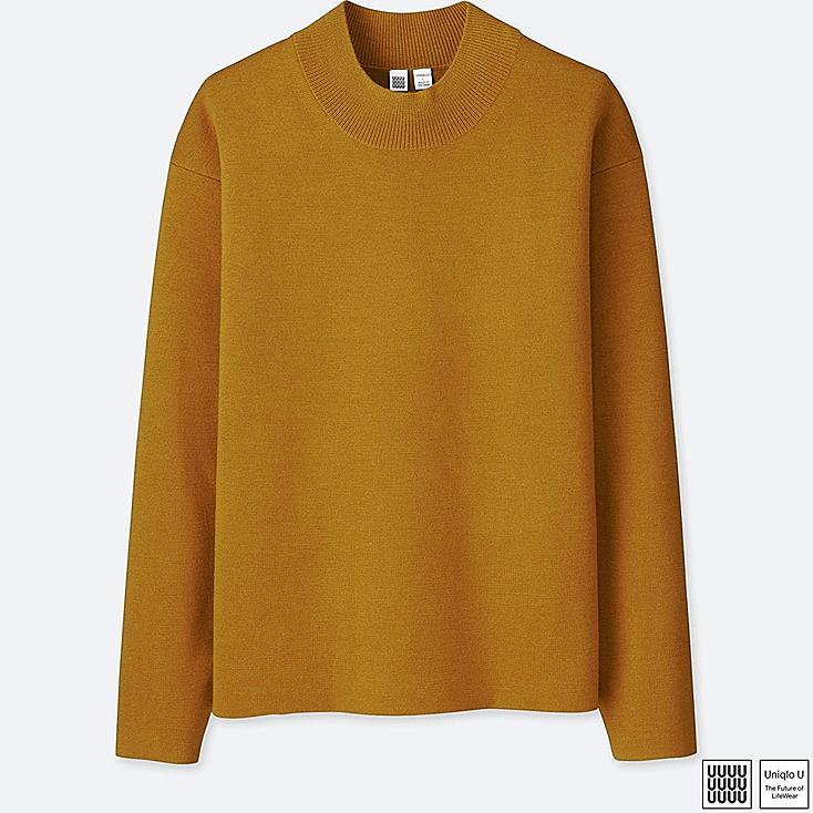 MEN U MILANO RIBBED MOCK NECK LONG-SLEEVE SWEATER, YELLOW, large