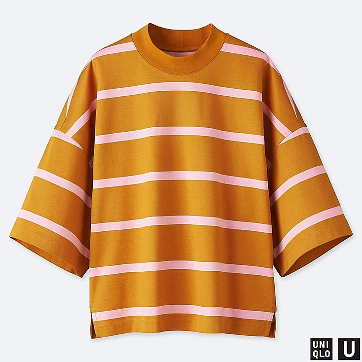 WOMEN U OVERSIZE STRIPED SQUARE HALF-SLEEVE T-SHIRT, YELLOW, large
