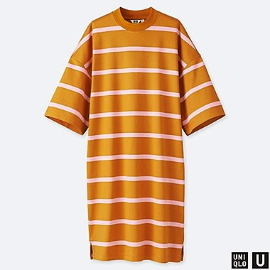 WOMEN UNIQLO U OVERSIZED STRIPED HALF SLEEVED T-SHIRT DRESS