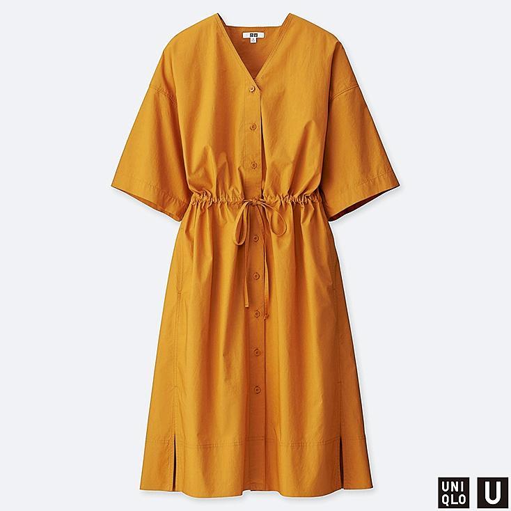 WOMEN U SHIRT SHORT-SLEEVE DRESS, YELLOW, large