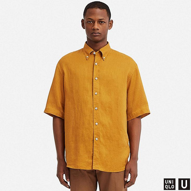 MEN U PREMIUM LINEN WIDE-FIT SHORT-SLEEVE SHIRT, YELLOW, large