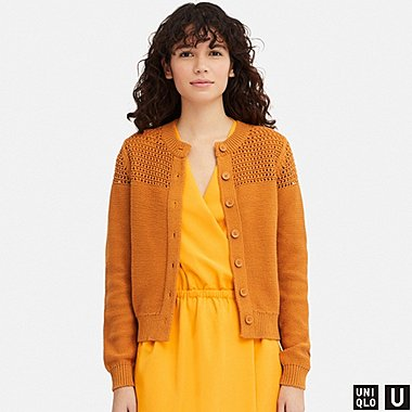 WOMEN U MESH CREW NECK CARDIGAN, YELLOW, medium