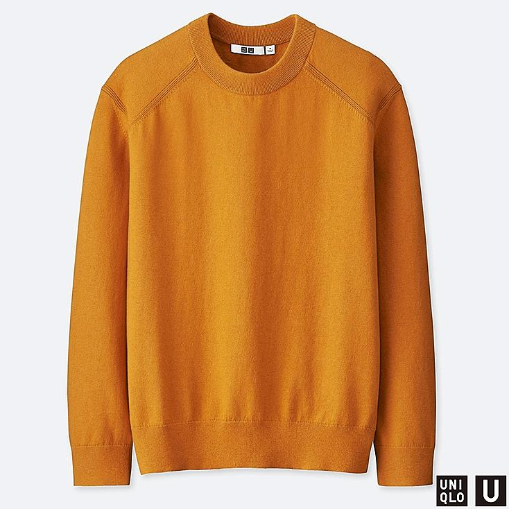 MEN U COTTON CASHMERE CREW NECK LONG-SLEEVE SWEATER, YELLOW, large