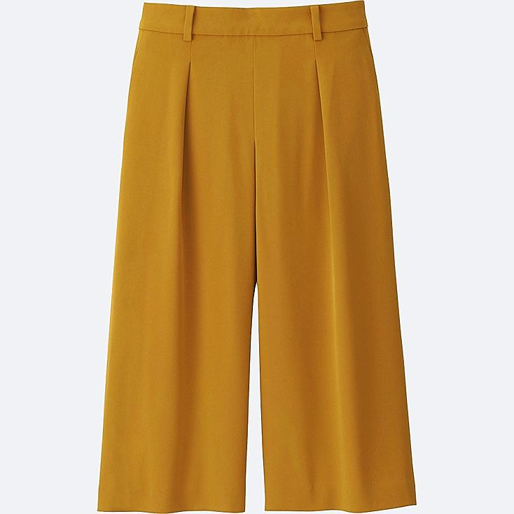 WOMEN DRAPE GAUCHO PANTS, YELLOW, large