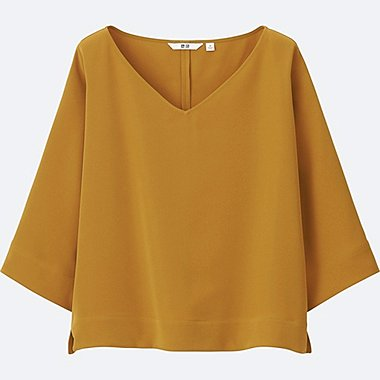 WOMEN DRAPE 3/4 SLEEVE BLOUSE, YELLOW, medium