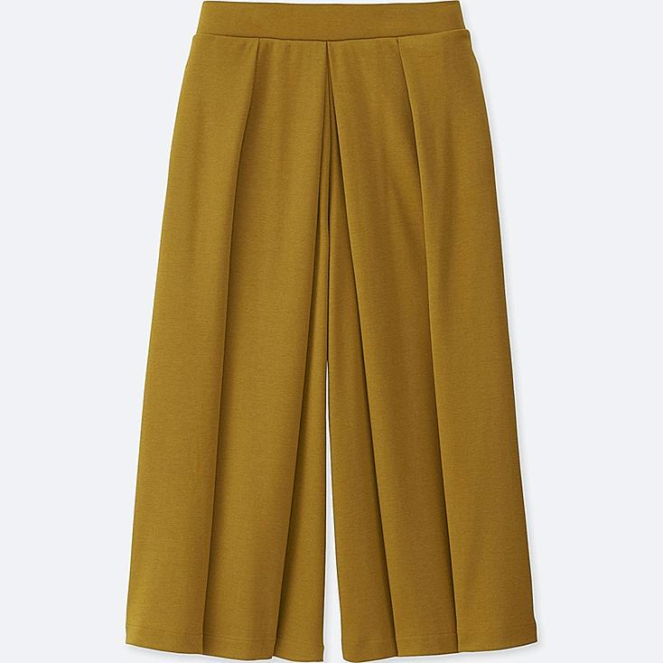 WOMEN JERSEY CROPPED FLARE WIDE PANTS, YELLOW, large