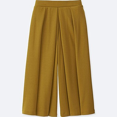 WOMEN JERSEY CROPPED FLARE WIDE PANTS, YELLOW, medium