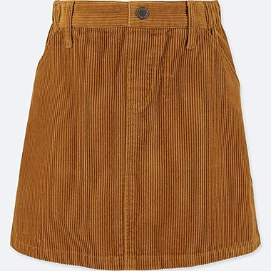 GIRLS CORDUROY SKIRT, YELLOW, medium