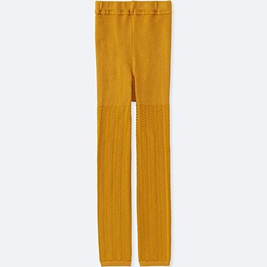 GIRLS KNITTED LEGGINGS, MUSTARD, medium