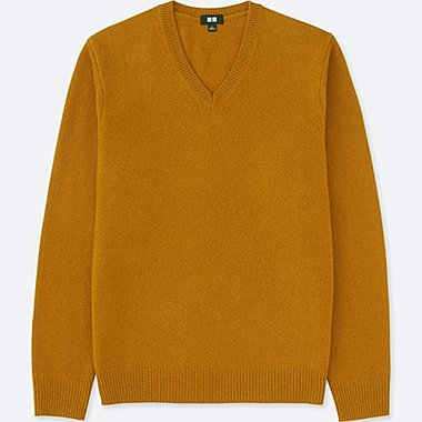 MEN PREMIUM LAMBSWOOL V-NECK LONG-SLEEVE SWEATER, MUSTARD, medium