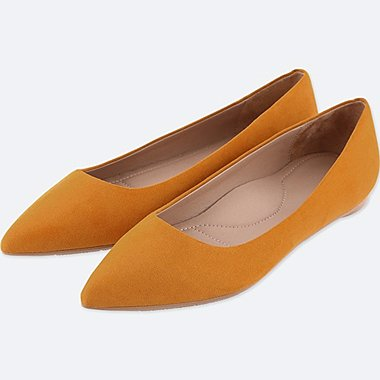 WOMEN POINTED FAUX SUEDE FLAT SHOES, MUSTARD, medium
