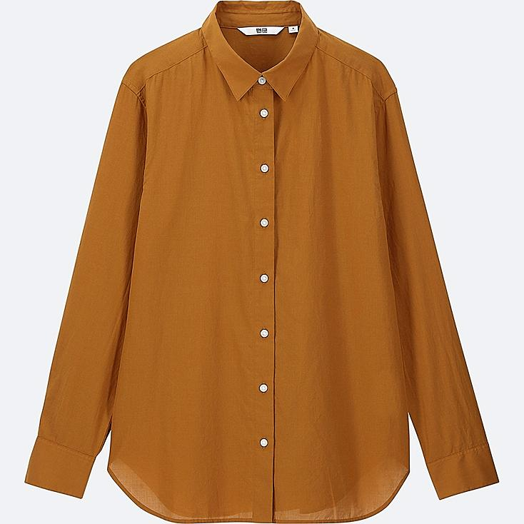 WOMEN SOFT COTTON LONG-SLEEVE SHIRT | Tuggl