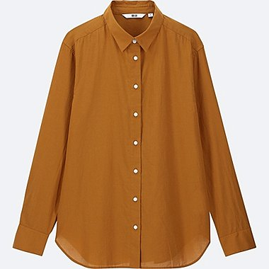 WOMEN SOFT COTTON LONG-SLEEVE SHIRT, MUSTARD, medium