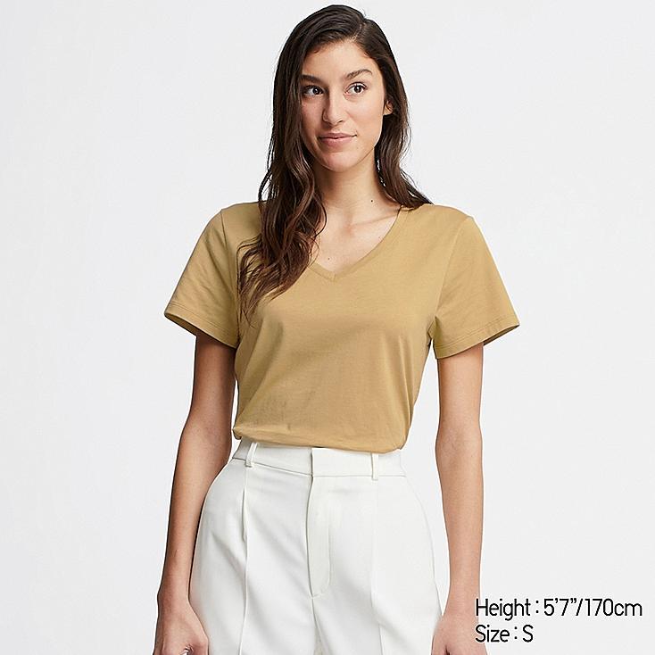 WOMEN SUPIMA® COTTON V-NECK SHORT-SLEEVE T-SHIRT, MUSTARD, large