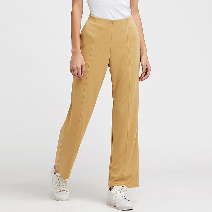 WOMEN PONTE HIGH-WAIST STRAIGHT PANTS, MUSTARD, large
