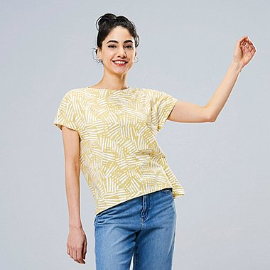 WOMEN SCANDINAVIAN UT (SHORT-SLEEVE GRAPHIC T-SHIRT), MUSTARD, medium