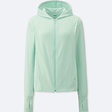 Womens AIRism UV Cut Mesh Zip-Up Hoodie, LIGHT GREEN, medium