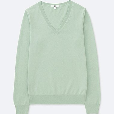 WOMEN COTTON CASHMERE V-NECK SWEATER, LIGHT GREEN, medium