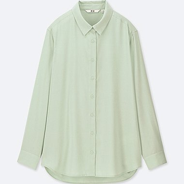 WOMEN RAYON LONG-SLEEVE BLOUSE, LIGHT GREEN, medium
