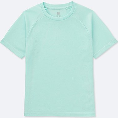 KIDS DRY-EX CREWNECK T-SHIRT, LIGHT GREEN, medium