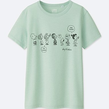 WOMEN PEANUTS SHORT-SLEEVE GRAPHIC T-SHIRT, LIGHT GREEN, medium