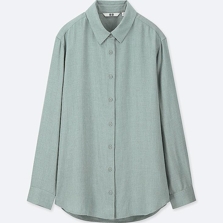 WOMEN RAYON LONG-SLEEVE BLOUSE, LIGHT GREEN, large