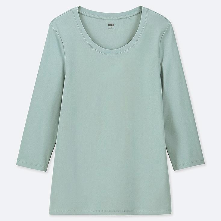 WOMEN 1*1 RIBBED COTTON CREW NECK 3/4 SLEEVE T-SHIRT, LIGHT GREEN, large