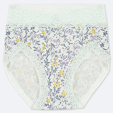 WOMEN HIGH-RISE FLORAL BRIEFS, LIGHT GREEN, medium