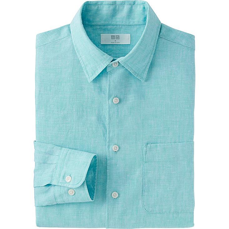 Men premium linen long sleeve shirt uniqlo us for Uniqlo premium t shirt
