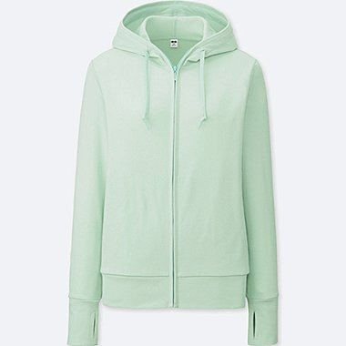 WOMEN UV CUT LONG-SLEEVE FULL-ZIP HOODIE, GREEN, medium