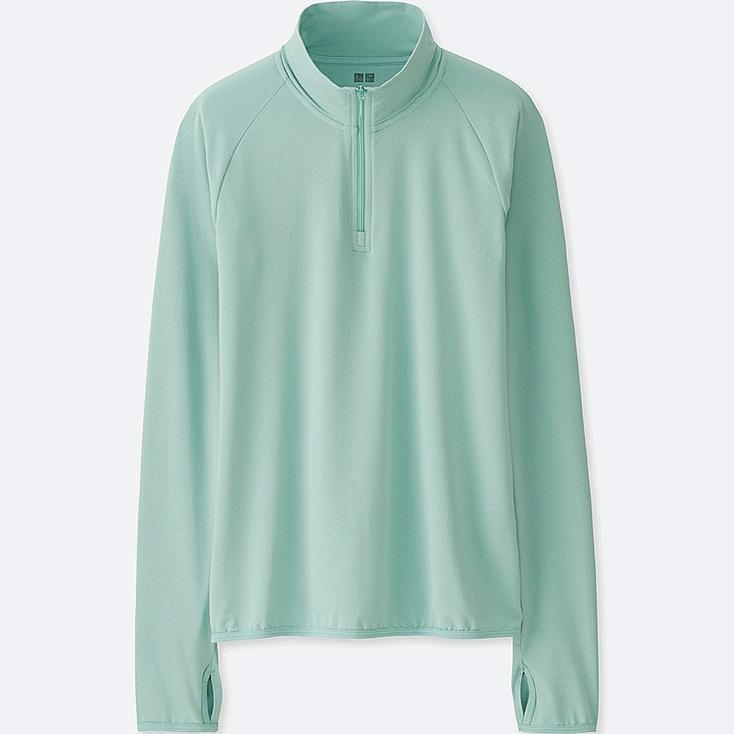 Women airism uv cut half zip mesh long sleeve t shirt for Uv long sleeve shirt womens