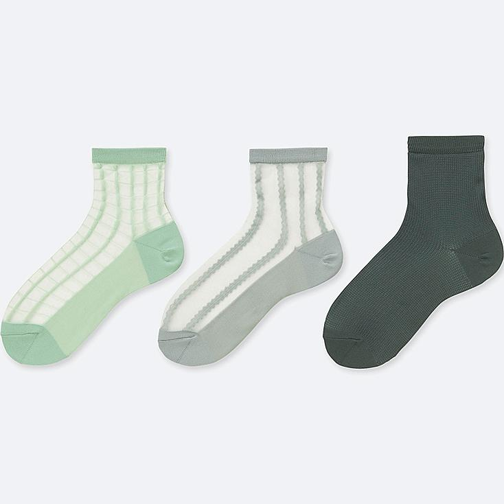 WOMEN SHEER CREW SOCKS (3 PAIRS), GREEN, large