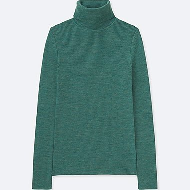 WOMEN EXTRA FINE MERINO RIBBED TURTLENECK SWEATER, GREEN, medium