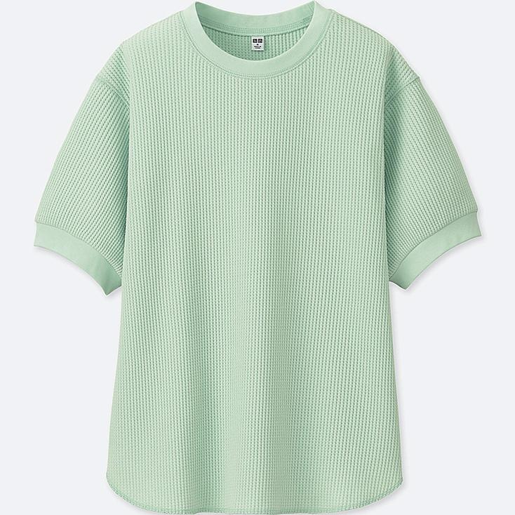 WOMEN WAFFLE CREWNECK HALF-SLEEVE T-SHIRT at UNIQLO in Brooklyn, NY | Tuggl