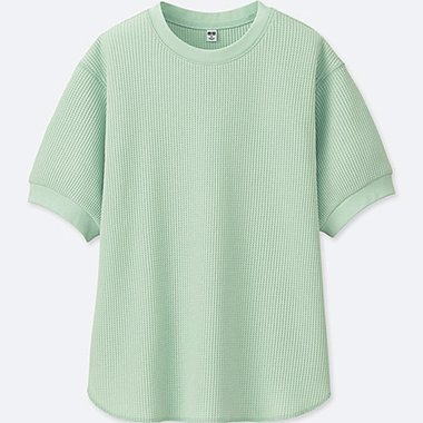 WOMEN WAFFLE CREWNECK HALF-SLEEVE T-SHIRT, GREEN, medium
