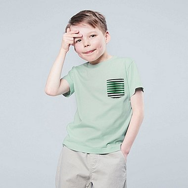 KIDS SUPER GEOMETRIC DUSEN DUSEN SHORT-SLEEVE T-SHIRT, GREEN, medium