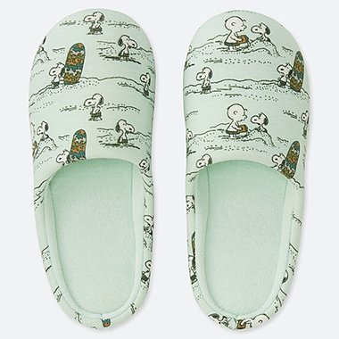 PEANUTS SLIPPERS, GREEN, medium