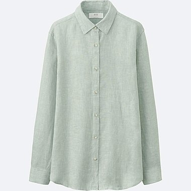 WOMEN PREMIUM LINEN LONG-SLEEVE SHIRT, GREEN, medium
