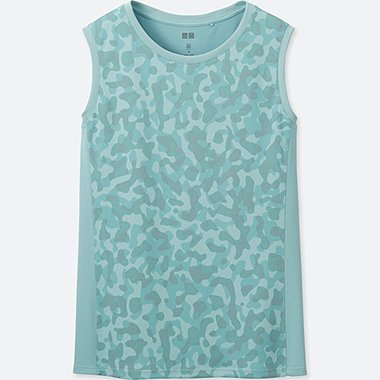 WOMEN DRY-EX PRINTED TANK TOP, GREEN, medium