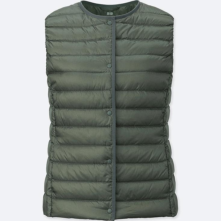 Women Ultra Light Down Compact Vest, GREEN, large