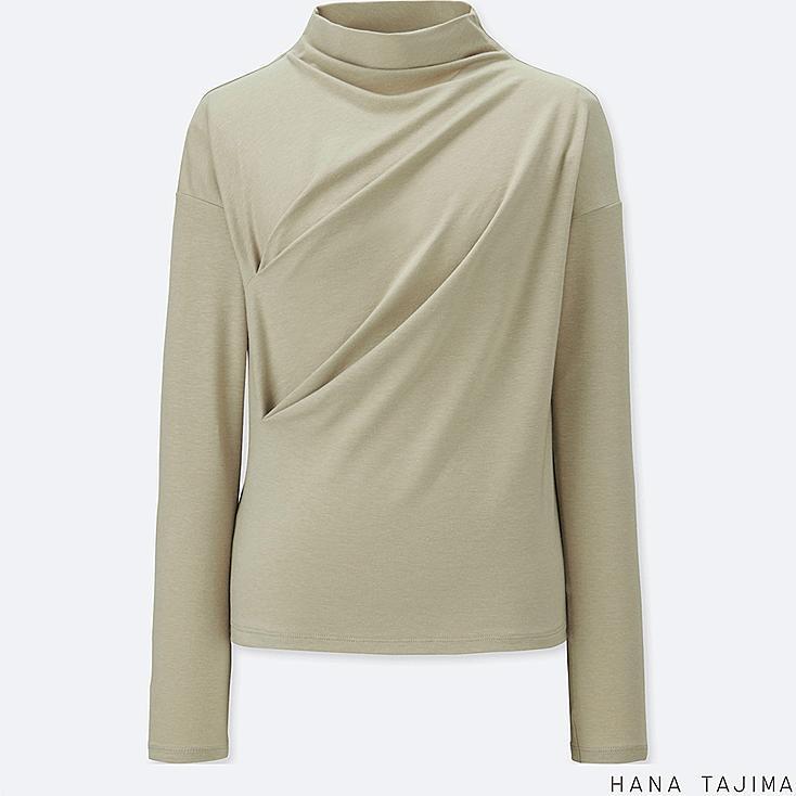 WOMEN BOTTLENECK LONG-SLEEVE T-SHIRT, GREEN, large