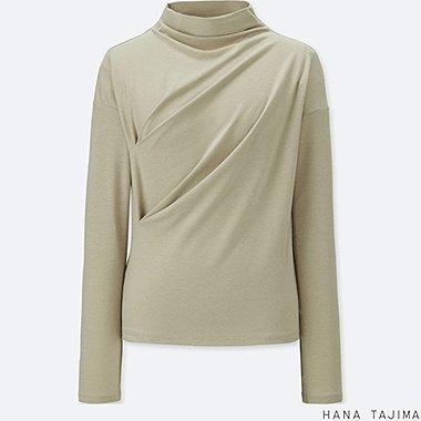 WOMEN BOTTLENECK LONG-SLEEVE T-SHIRT, GREEN, medium