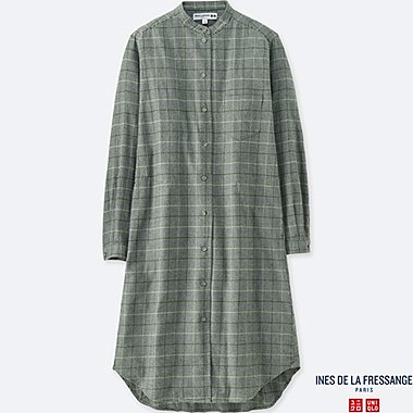 WOMEN IDLF COTTON FLANNEL SHIRT DRESS, GREEN, medium