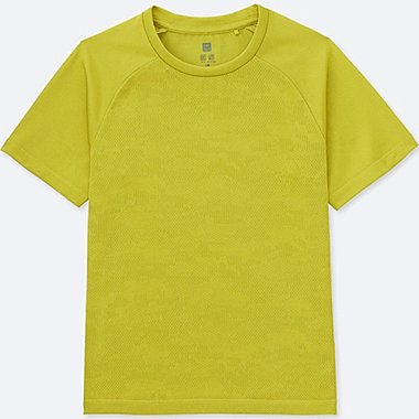 KIDS DRY-EX CREWNECK T-SHIRT, GREEN, medium