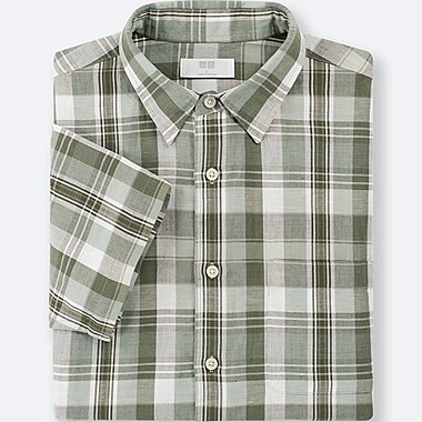 MEN LINEN COTTON CHECKED SHORT-SLEEVE SHIRT, GREEN, medium