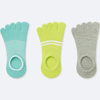 WOMEN SPORTS FINGER FOOTSIES (3 PAIRS), GREEN, medium