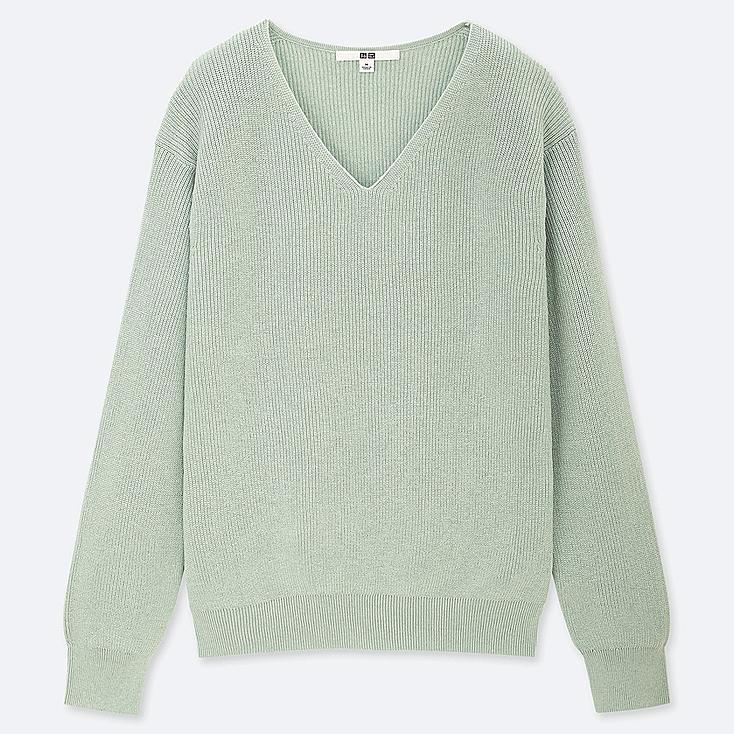 WOMEN COTTON CASHMERE V-NECK SWEATER, GREEN, large